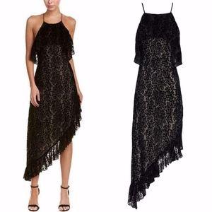 ALICE + OLIVIA Black VELVET Burnout FABIOLA DRESS